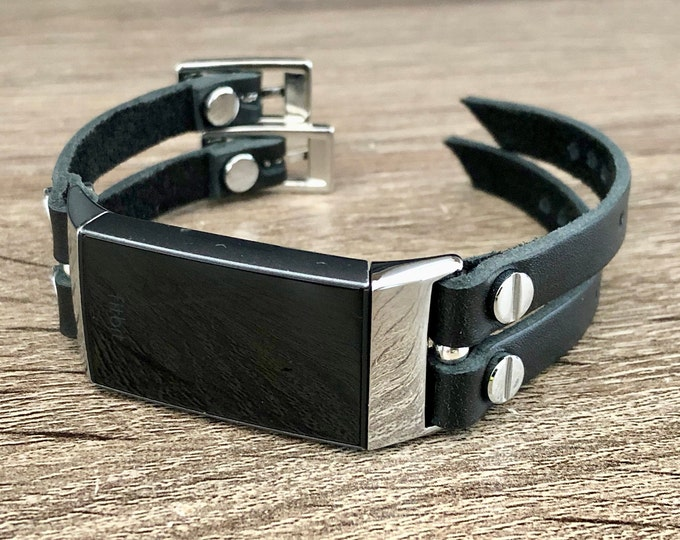 Fitbit Charge 4 Band Silver Fitbit Charge 4 Bracelet Adjustable Fitbit Wristband Black Leather Straps Fitness Activity Fitbit Tracker Band