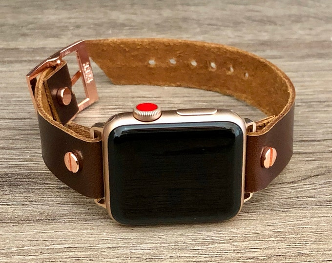 Rose Gold Apple Watch Band 38mm 40mm 42mm 44mm Leather iWatch Bracelet Dark Brown Series 5 4 3 2 1 Adjustable Wristband Rose Gold Watch Band
