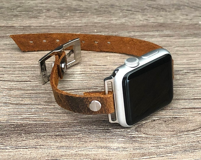 Apple Watch Band  38mm 40mm 42mm 44mm  10mm Vintage Brown Leather & Silver Apple Watch Bracelet Brown Adjustable Apple Watch Strap Wristband