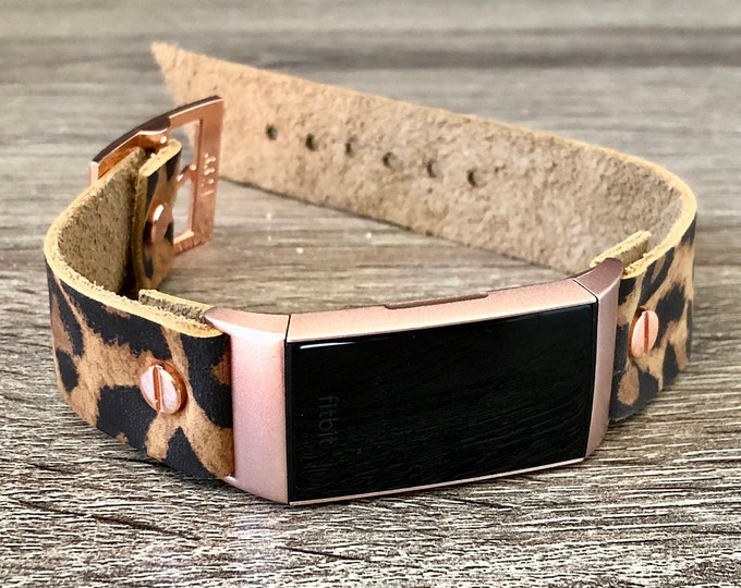 Rose Gold & Leopard Print Leather Fitbit Charge 3 Band Women Style Fitbit Wristband Genuine Leather Strap Adjustable Size Fitbit Band