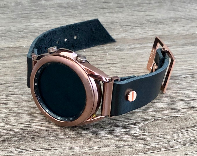 Samsung Galaxy Watch 3 Bracelet 41mm Watch Band Bronze Galaxy Watch 3 Cuff Band Genuine Black Leather Adjustable Strap Wristband