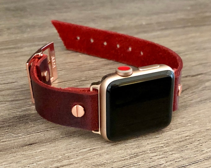 Rose Gold Apple Watch Band 38mm 40mm 42mm 44mm iWatch Bracelet Adjustable Size Red Leather Cuff Wristband Rose Gold Watch Band