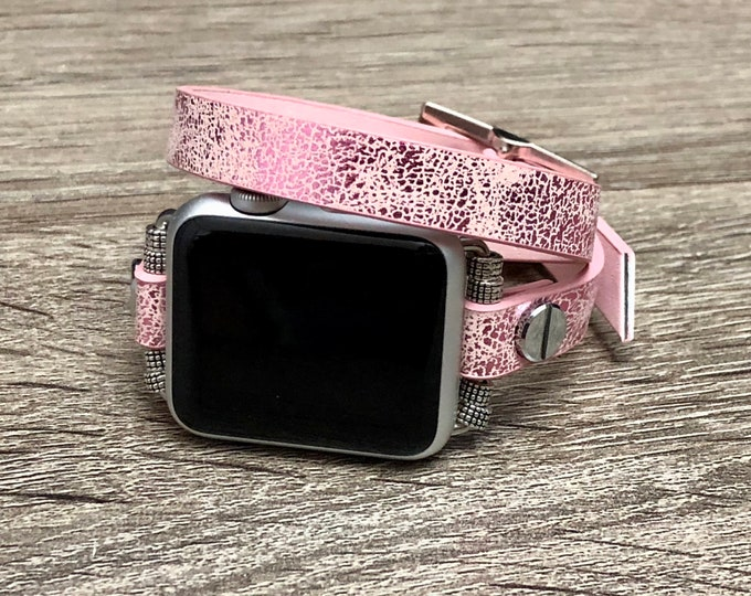 Apple Watch Bracelet Women Vegan Rose Pink Leather Handmade Adjustable Apple Watch Band iWatch Band 38mm 42mm Leather Strap iWatch Wristband