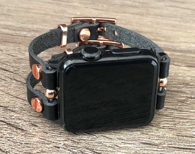 Black Leather & Rose Gold Apple Watch Band, Two Toned Apple Watch Band 38mm 40mm 42mm 44mm, Women Style Jewelry Space Gray Apple Watch Strap