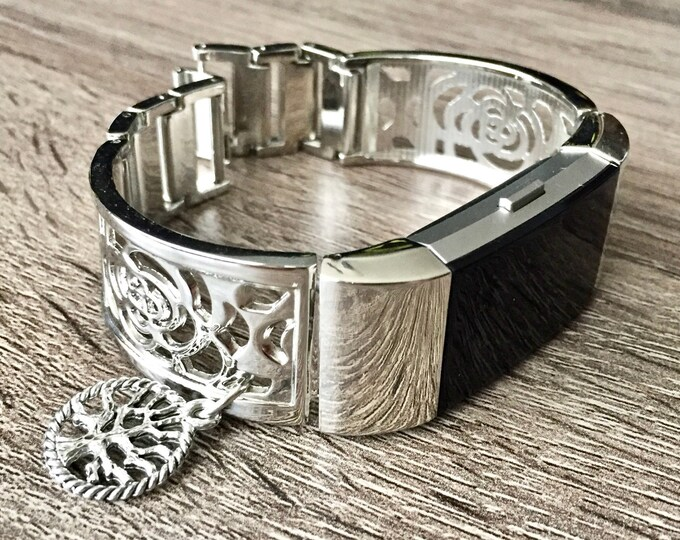 Silver Metal Fitbit Charge 2 Band Women Style Silver Fitbit Bangle with Tree of Life Medallion Fitbit Charge 2 Bracelet Fitbit Jewelry