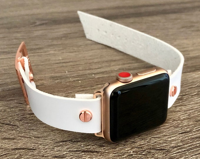 White Leather Rose Gold Apple Watch Band 38mm 40mm 42mm 44mm iWatch Bracelet Adjustable Eco-Friendly Wristband Women Rose Gold Watch Band