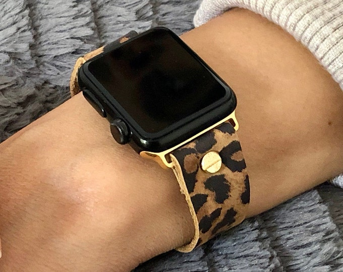 Gold & Leopard Print Leather Apple Watch Strap 38mm 40mm 42mm 44mm iWatch Leather Bracelet Apple Watch Band iWatch Wristband Wrist Jewelry