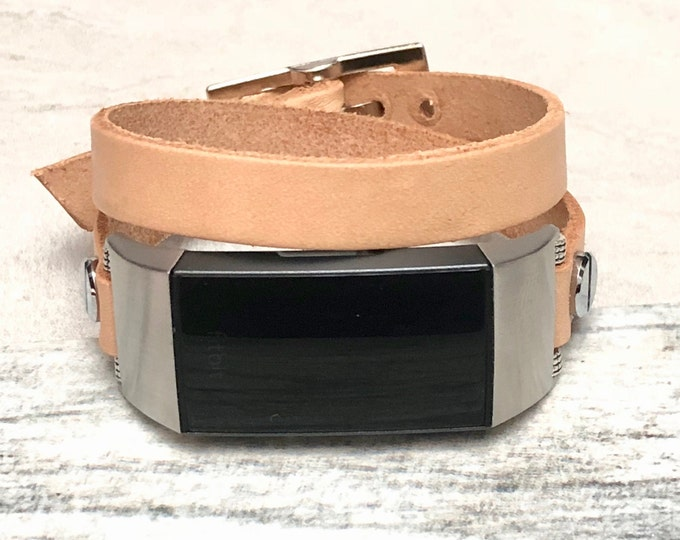 Beige Leather Fitbit Charge 3 Band Double Wrapped Fitbit Charge 3 Strap Bracelet Stainless Steel Fitbit Charge 3 Leather Band for Women