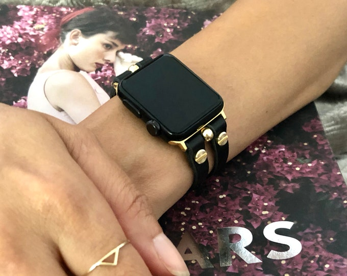 Gold Apple Watch Band 38mm 40mm 42mm 44mm iWatch Leather Bracelet Women Apple Watch Strap Double Straps Apple Watch Wristband iWatch Jewelry