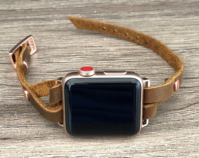 Boho Style Rustic Leather Apple Watch Band 38mm 40mm 42mm 44mm Rose Gold & Brown Leather Apple Bracelet Watch Strap Women iWatch Band