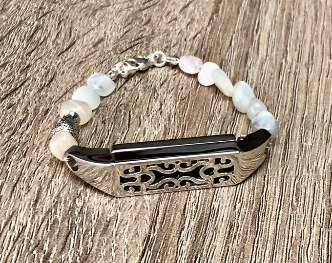 White Moonstone Bracelet for Fitbit Flex 2 Tracker Handmade Silver Fitbit Flex 2 Band Silver Buddha Bead Yogi Jewelry Mother's Day Gift