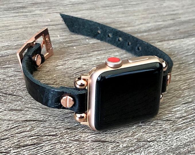 Slim Black Leather & Rose Gold Apple Watch Band 38mm 40mm 42mm 44mm Women Apple Watch Wristband Soft Grain Leather iWatch Bracelet