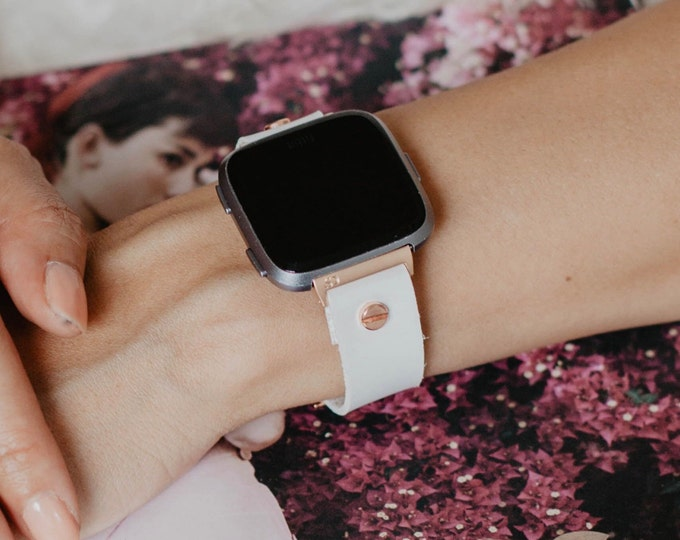 Vegan White Leather & Rose Gold Fitbit Versa 2 Band Fitbit Versa Lite Watch Strap Adjustable Fitbit Versa Band Rose Gold Watch Band