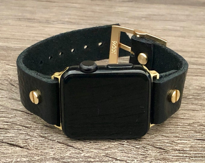 Black Grain Leather Apple Watch Band 38mm 40mm 42mm 44mm Gold iWatch Bracelet Adjustable Wristband Classic Watch Strap Band