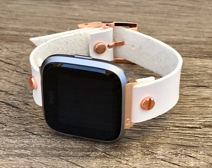 Rose Gold Fitbit Versa 2 Band White Leather Fitbit Versa Lite Watch Strap Adjustable Fitbit Versa Band Vegan Leather Watch Wristband