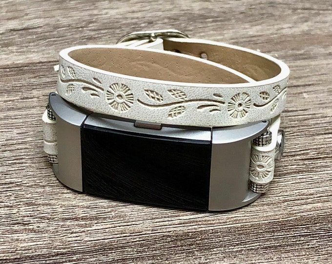 White Double Wrap Wristband for Fitbit Charge 2 Tracker Handmade Fitbit Charge 2 Band Floral Vegan Fitbit Charge 2 Bracelet Adjustable