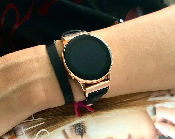 Samsung Galaxy Watch Band Double Wrap Black Genuine Leather Strap Bracelet Rose Gold Samsung Galaxy Watch 42mm Band Galaxy Watch Active Band