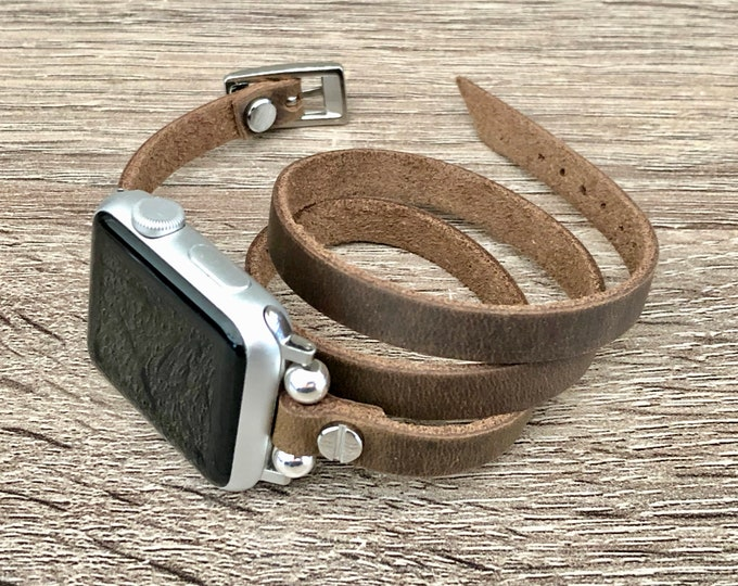 Silver & Vintage Brown Leather Apple Watch Band 38mm 40mm 42mm 44mm Apple Watch Strap iWatch Bracelet Distressed Leather Apple Watchband