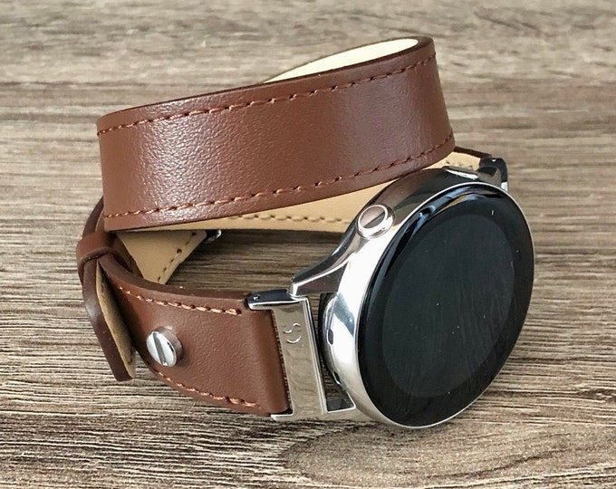 Brown Leather Samsung Galaxy Watch Active2 Band Galaxy Active Watch Bracelet Adjustable Double Wrapped Vegan Strap Band 20mm Watch Band