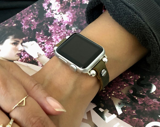 Olive Leather Apple Watch Band 38mm 40mm 42mm 44mm iWatch Bracelet Silver Rustic Vintage Leather Strap Apple Watch Bracelet iWatch Band
