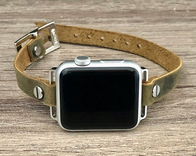 Apple Watch Band  38mm 40mm 42mm 44mm Distressed Olive Color Leather & Silver Apple Watch Bracelet Adjustable Rustic Wristband iWatch Band
