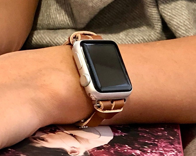 Women Apple Watch Band Strap Elegant Slim Light Brown iWatch Band Adjustable Size Apple Watch Band 38mm 40mm 42mm 44mm iWatch Leather Strap