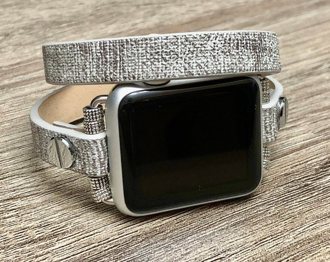 Stone Color Leather Apple Watch Band 38-40mm 42-44mm Apple Watch Strap Double Wrapped Apple Watch Band Women Elegant Apple Watch Jewelry
