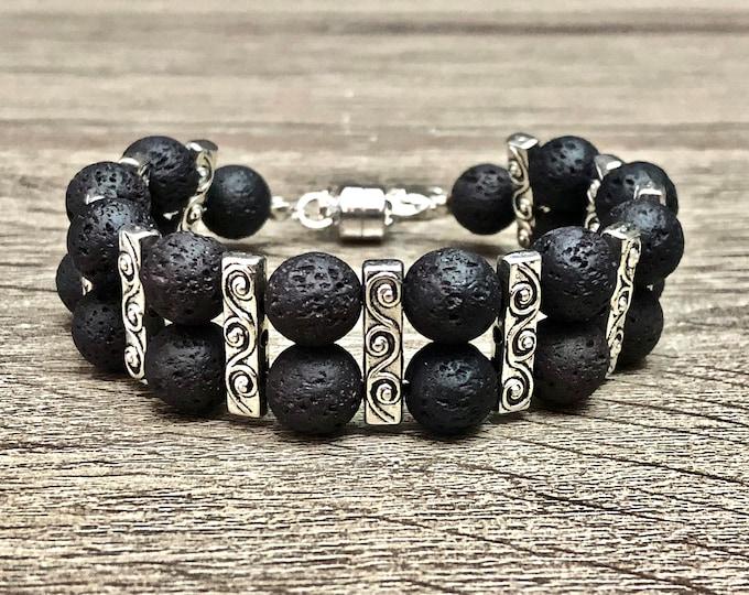 Lava Stones & Silver Beads Bracelet Men Unique Design Volcanic Lava Beads Jewelry Band 10mm Black Beads Silver Jewelry Band