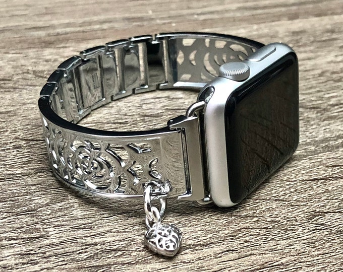 Silver Apple Watch Band 38mm 40mm 42mm 44mm Women iWatch Bracelet Adjustable Apple Watch Bracelet iWatch Band Jewelry Bangle Heart Medallion