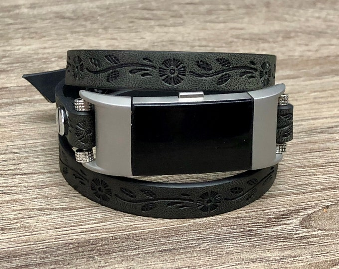Fitbit Charge 2 Band Handmade Leather Vegan Multi Wrap Fitbit Charge 2 Wristband Black Embossed Multi Wrap Unisex Fitbit Charge 2 Jewelry