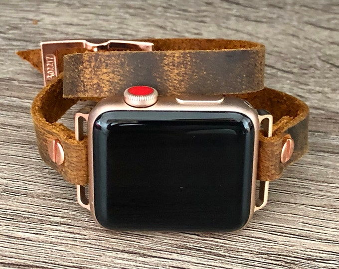 Rose Gold Apple Watch Band 38mm 40mm 42mm 44mm Distressed Leather Vintage Apple Watch Strap Bracelet iWatch Bracelet Apple Watch Wristband