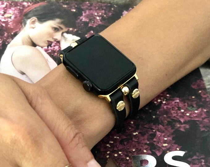 Gold & Black Leather Apple Watch Band 38mm 40mm 42mm 44mm iWatch Bracelet Women Apple Watch Double Straps Apple Watch Wristband Jewelry