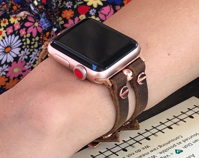 Apple Watch Band Women Style Rose Gold & Brown Leather Apple Watch Bracelet iWatch Band Strap Apple Watch 38mm 40mm 42mm 44mm Cuff Wristband