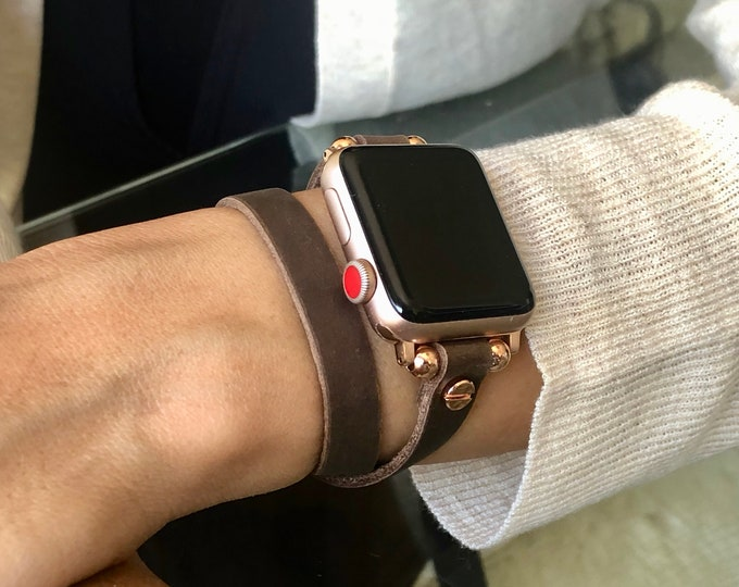 Apple Watch Band Women iWatch Bracelet 38mm 40mm 42mm 44mm Rose Gold Apple Watch Wristband Vintage Brown Leather iWatch Strap Band Jewelry