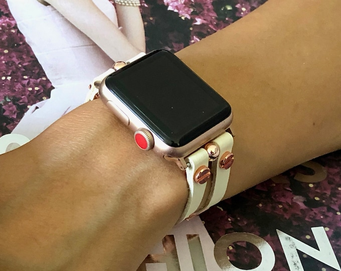 Rose Gold Apple Watch Band 38mm 40mm 42mm 44mm White Leather Strap Apple Watch Bracelet Women Apple Watch Wristband iWatch Band Bracelet