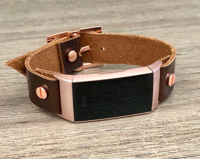 Rose Gold Fitbit Charge 3 Band Caramel Brown Leather Bracelet Women Fitbit Wristband High Quality Genuine Leather Strap Adjustable Size Band