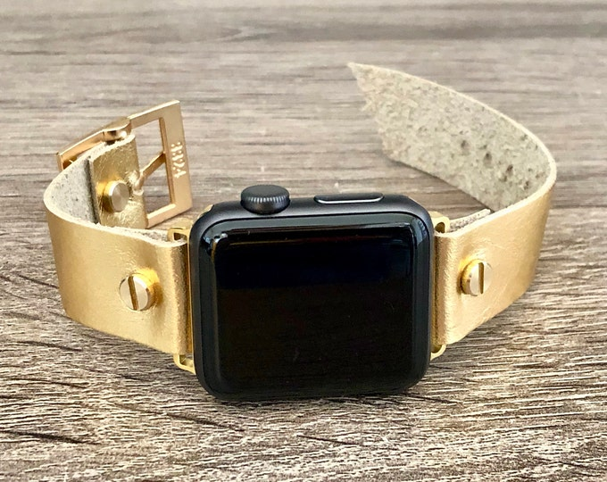 Gold Apple Watch Band Sparkly Gold Leather iWatch Bracelet Dressy Gold Apple Watch Strap Band Adjustable Watch Wristband 38mm 40mm 42mm 44mm
