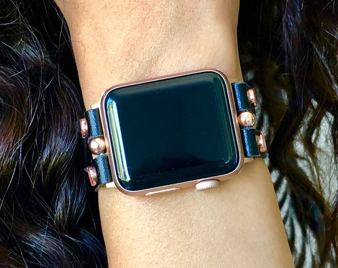 Vegan Leather Apple Watch Band 38mm 40mm 42mm 44mm iWatch Strap Bracelet Rose Gold Apple Watch Black Wristband Women Smart Watch Wrist Band