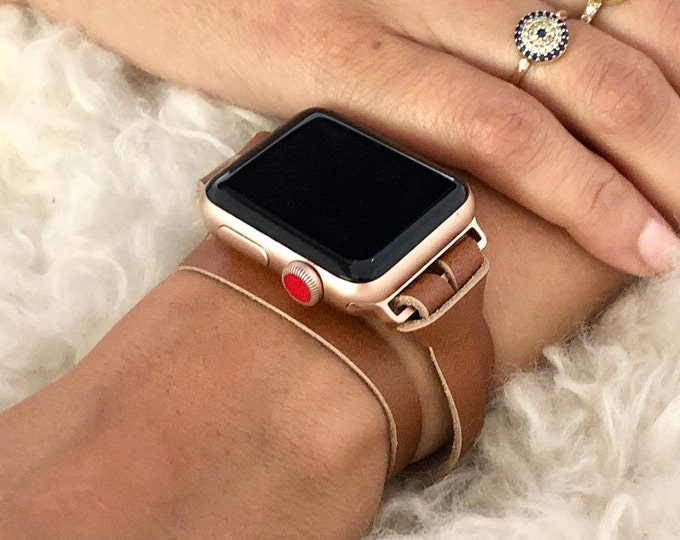 Rose Gold Apple Watch Band 38mm 40mm 42mm 44mm Women Bracelet Band iWatch Band Bronze Leather Apple Watch Wristband Double Tour iWatch Band
