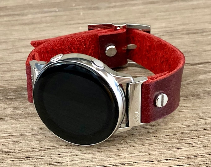 Red Leather Samsung Galaxy Active Band, Silver Galaxy Watch Active2 Bracelet 40mm 44mm, Silver Watch Band Adjustable Wristband Strap