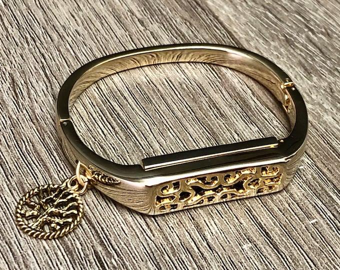 Fitbit Flex 2 Band Women Gold Handmade Fitbit Flex 2 Bangle Gold Tree of Life Pendant Fitbit Flex 2 Bracelet Women Fitbit Bangle Jewelry