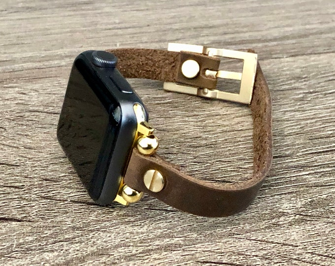 Slim Leather Apple Watch Band 38mm 40mm 42mm 44mm Brown Leather & Gold Apple Watch Bracelet Adjustable Rustic Wristband iWatch Band