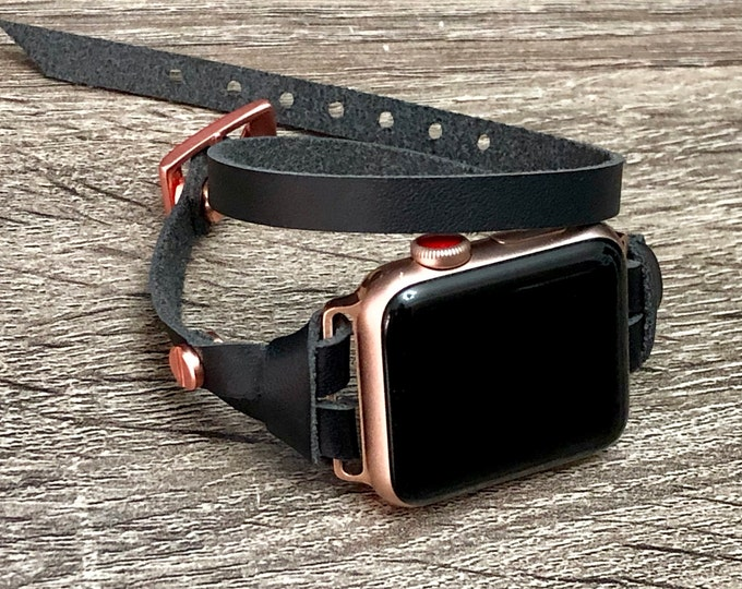 Rose Gold & Black Leather Apple Watch 38mm 40mm 42mm 44mm Band Apple Watch Women Bracelet Strap iWatch Wristband Rose Gold Watch Band