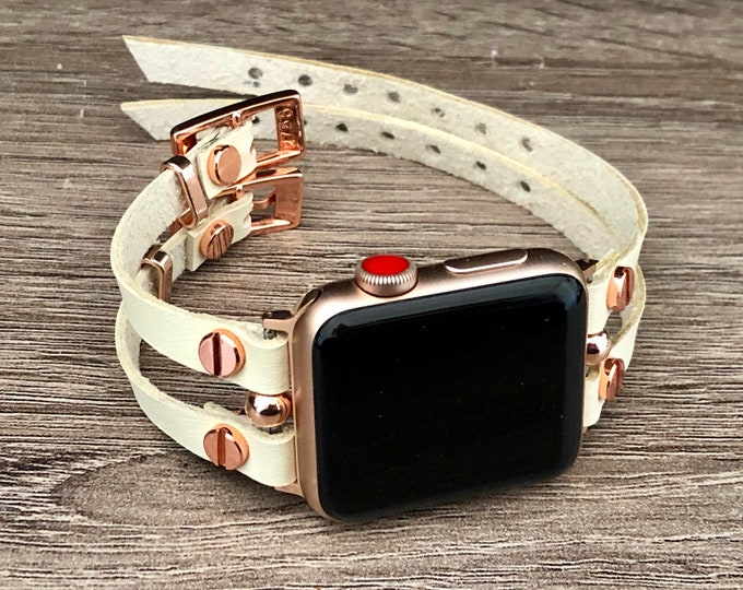 Apple Watch Band Rose Gold & White Leather iWatch Bracelet Jewelry Apple Watch 38mm 40mm 42mm 44mm Women Style Apple Watch Wristband