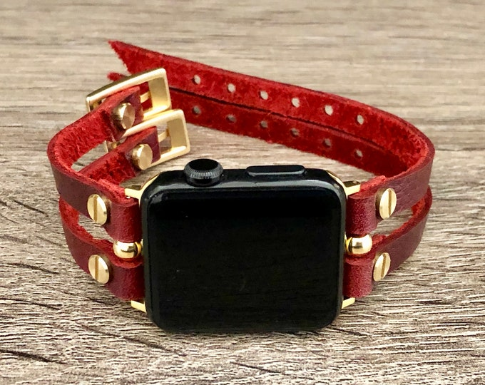 Wine Red & Gold Apple Watch Band 38mm 40mm 42mm 44mm Leather Strap Bracelet Women iWatch Band Jewelry Apple Watch Wristband Series 1,2,3,4,5
