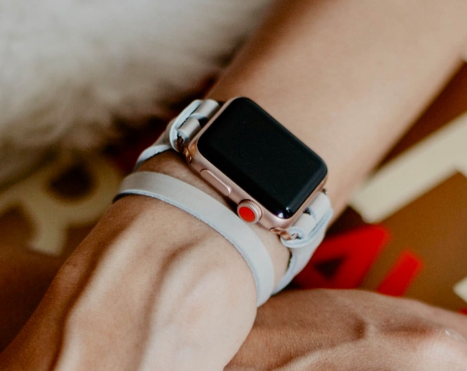 Rose Gold Apple Watch 38mm 40mm 42mm 44mm Gray Leather Band Silver Apple Watch Band Double Wrap Women Rose Gold iWatch Bracelet