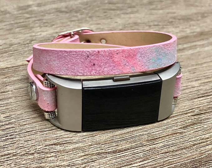 Rose Pink Leather Bracelet for Fitbit Charge 2 Fitness Activity Tracker Handmade Fitbit Charge 2 Band Adjustable Vegan Leather Jewelry Band