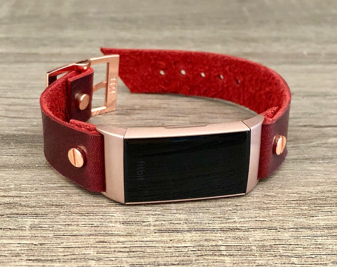 Rose Gold Fitbit Charge 3 Band Wine Red Leather Bracelet Women Fitbit Wristband High Quality Genuine Leather Strap Adjustable Size Band