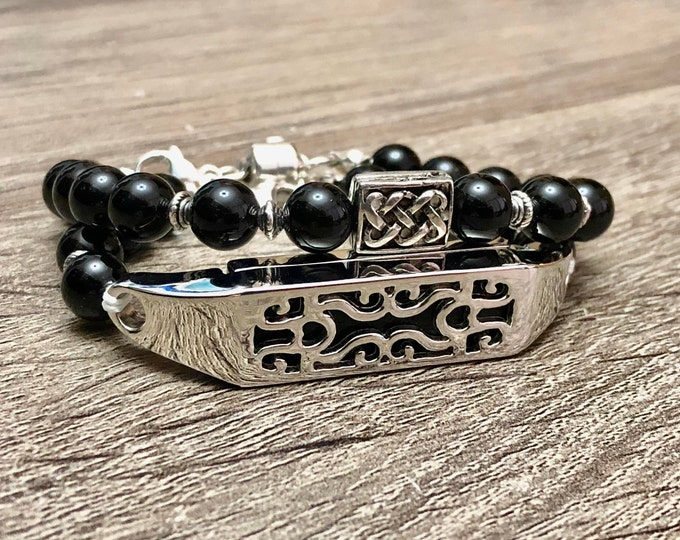 Luxury Onyx Bracelets for Fitbit Flex 2 Fitness Activity Tracker Handmade Fitbit Flex 2 Band Jewelry Jewelry Sterling Silver Magnetic Clasp