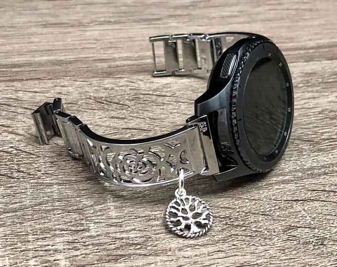 Silver Samsung Gear S3 Watch Band Bangle Flower Design Metal Samsung Frontier Vintage Tree of Life Jewelry Band for Samsung Adjustable Band